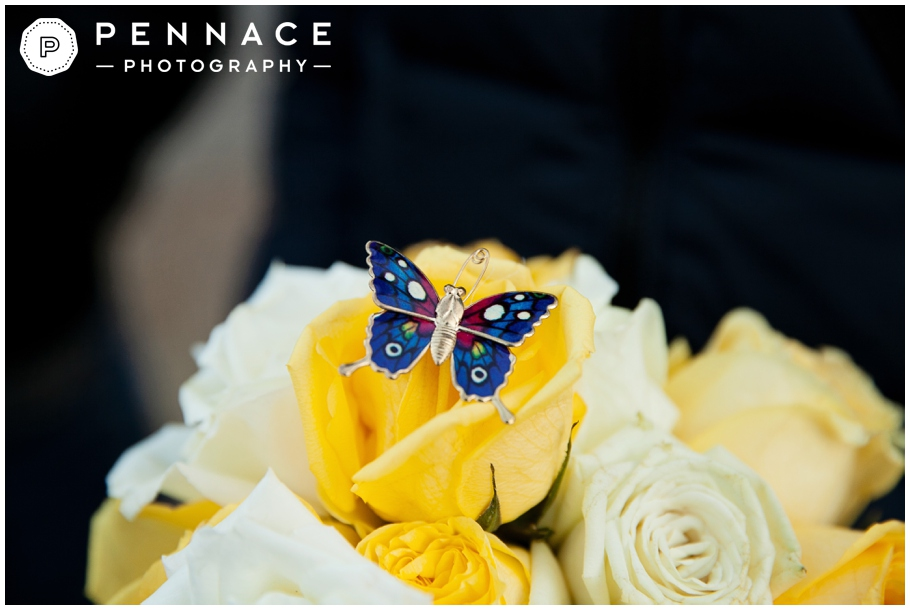 Butterly pin on yellow bouquet