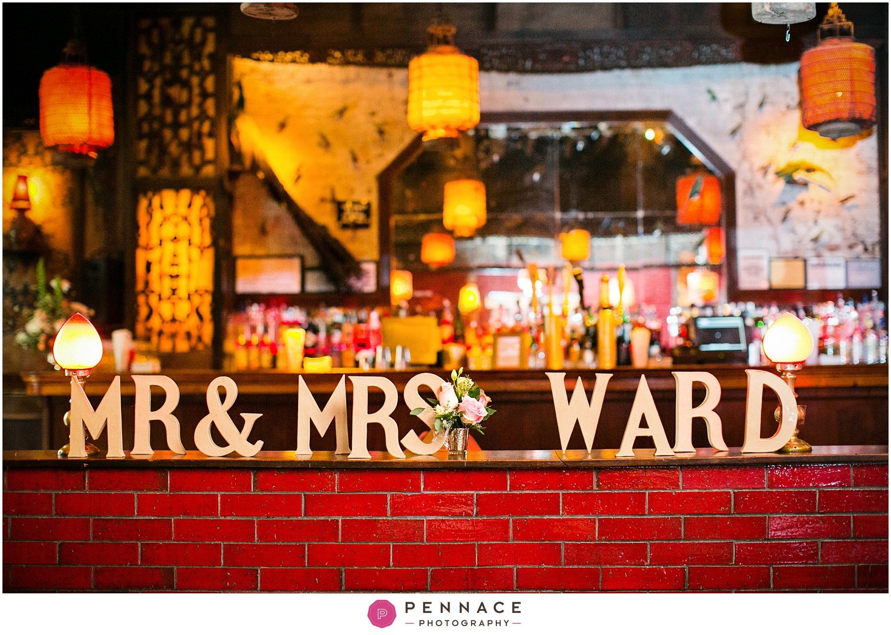 Wooden letter cutouts at wedding