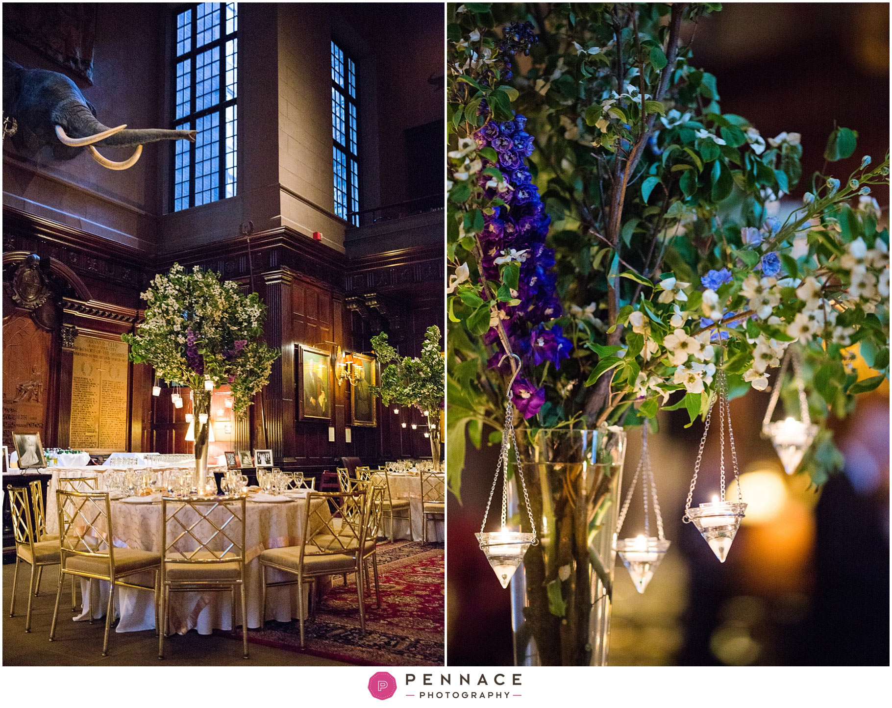 Centerpieces with purple flowers and candle votives